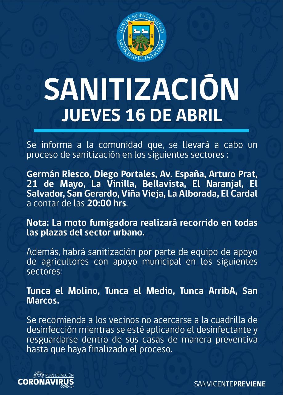 SE INFORMA SANITIZACIÓN PROGRAMADA PARA HOY JUEVES 16 DE ABRIL