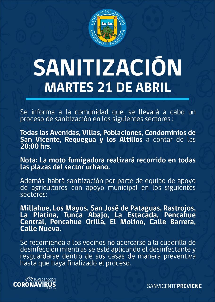 SE INFORMA SANITIZACIÓN PROGRAMADA PARA HOY MARTES 21 DE ABRIL