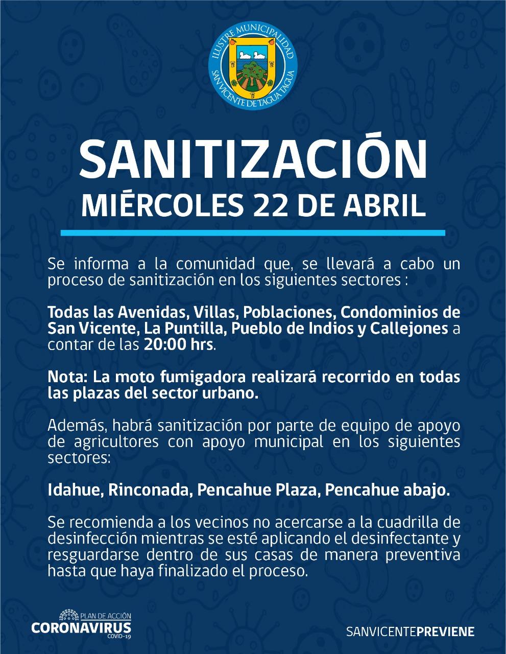 SE INFORMA SANITIZACIÓN PROGRAMADA PARA HOY MIÉRCOLES 22 DE ABRIL