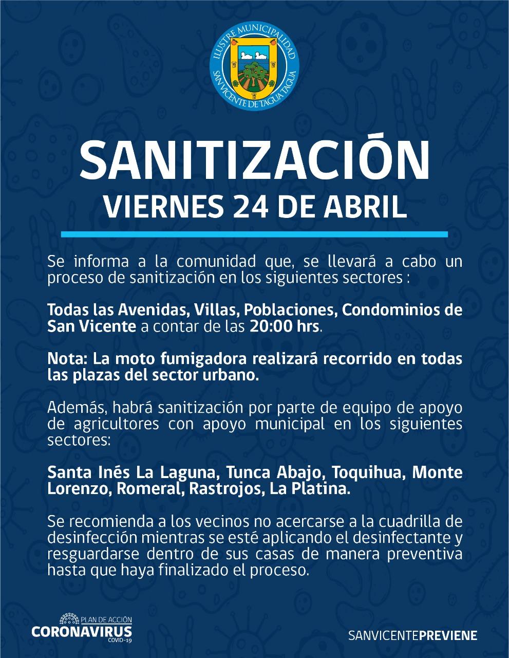 SE INFORMA SANITIZACIÓN PROGRAMADA PARA HOY VIERNES 24 DE ABRIL