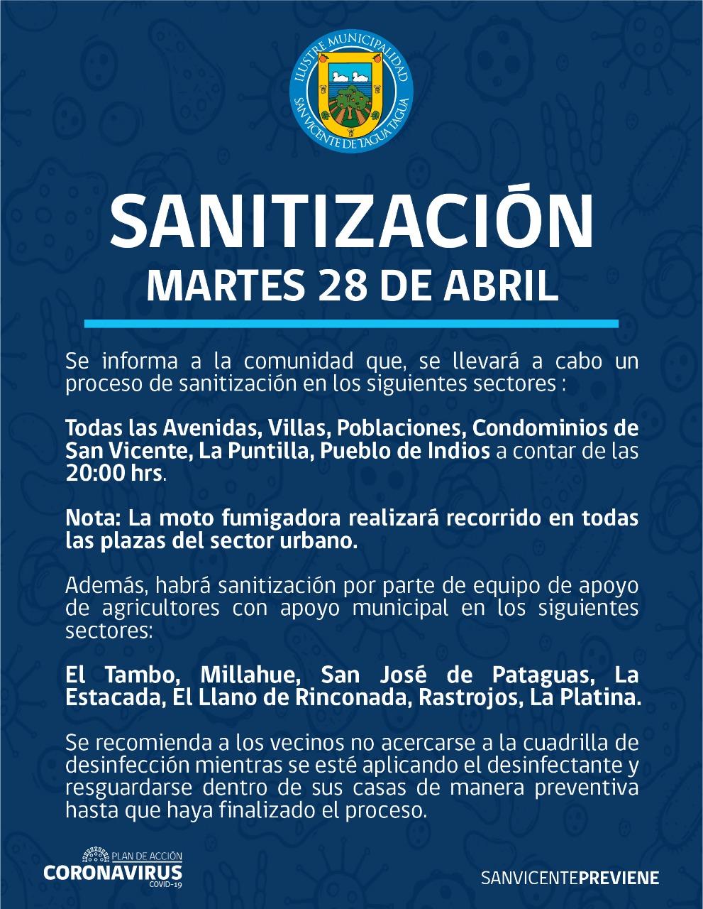 SE INFORMA SANITIZACIÓN PROGRAMADA PARA HOY MARTES 28 DE ABRIL