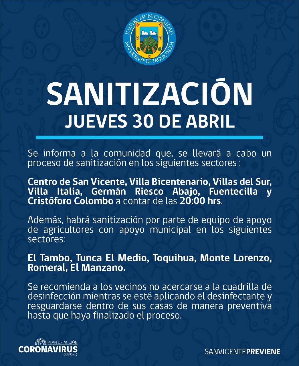 SE INFORMA SANITIZACIÓN PROGRAMADA PARA HOY JUEVES 30 DE ABRIL