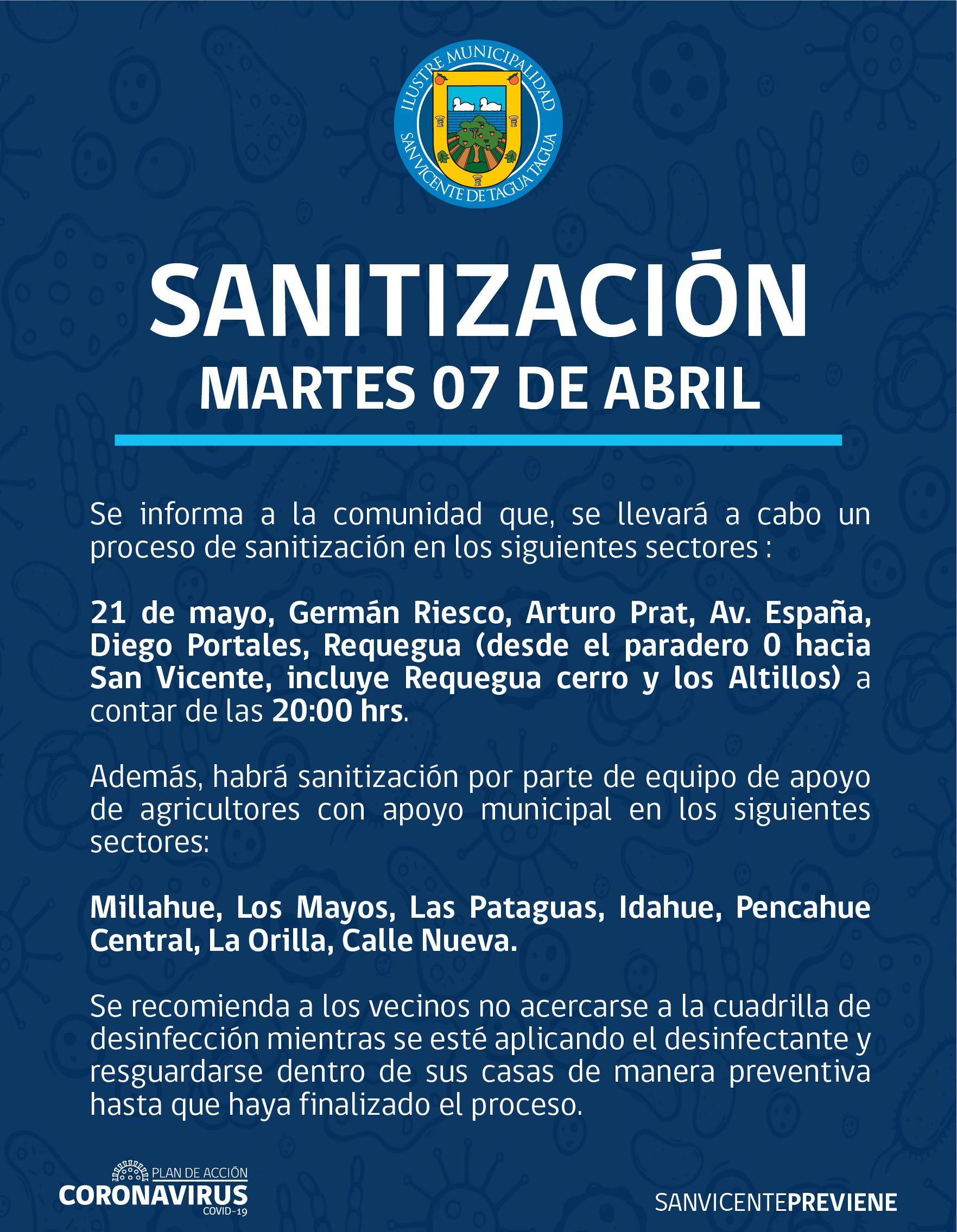 SE INFORMA SANITIZACIÓN PROGRAMADA PARA HOY MARTES 7 DE ABRIL