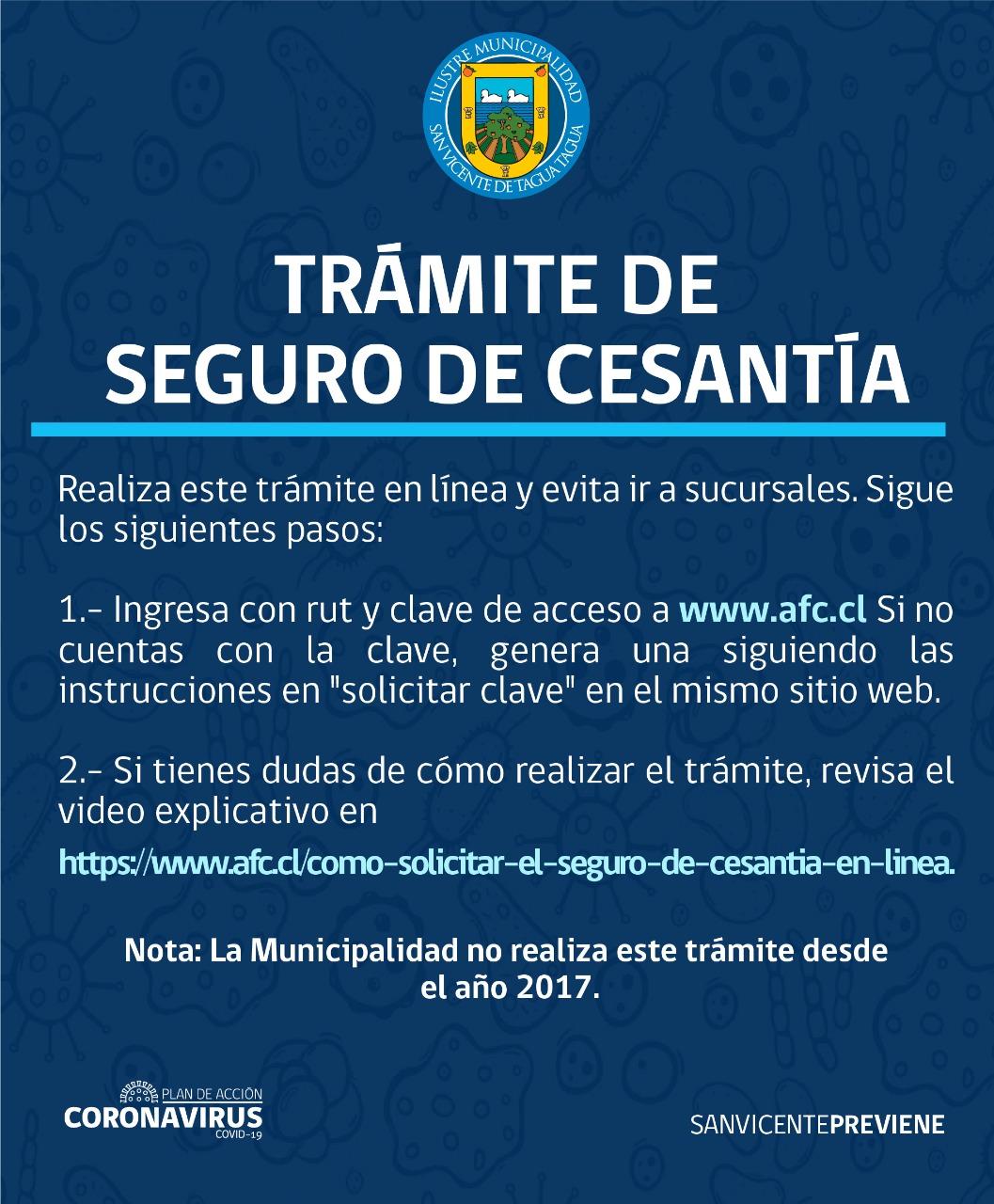 TRÁMITE SEGURO DE CESANTÍA