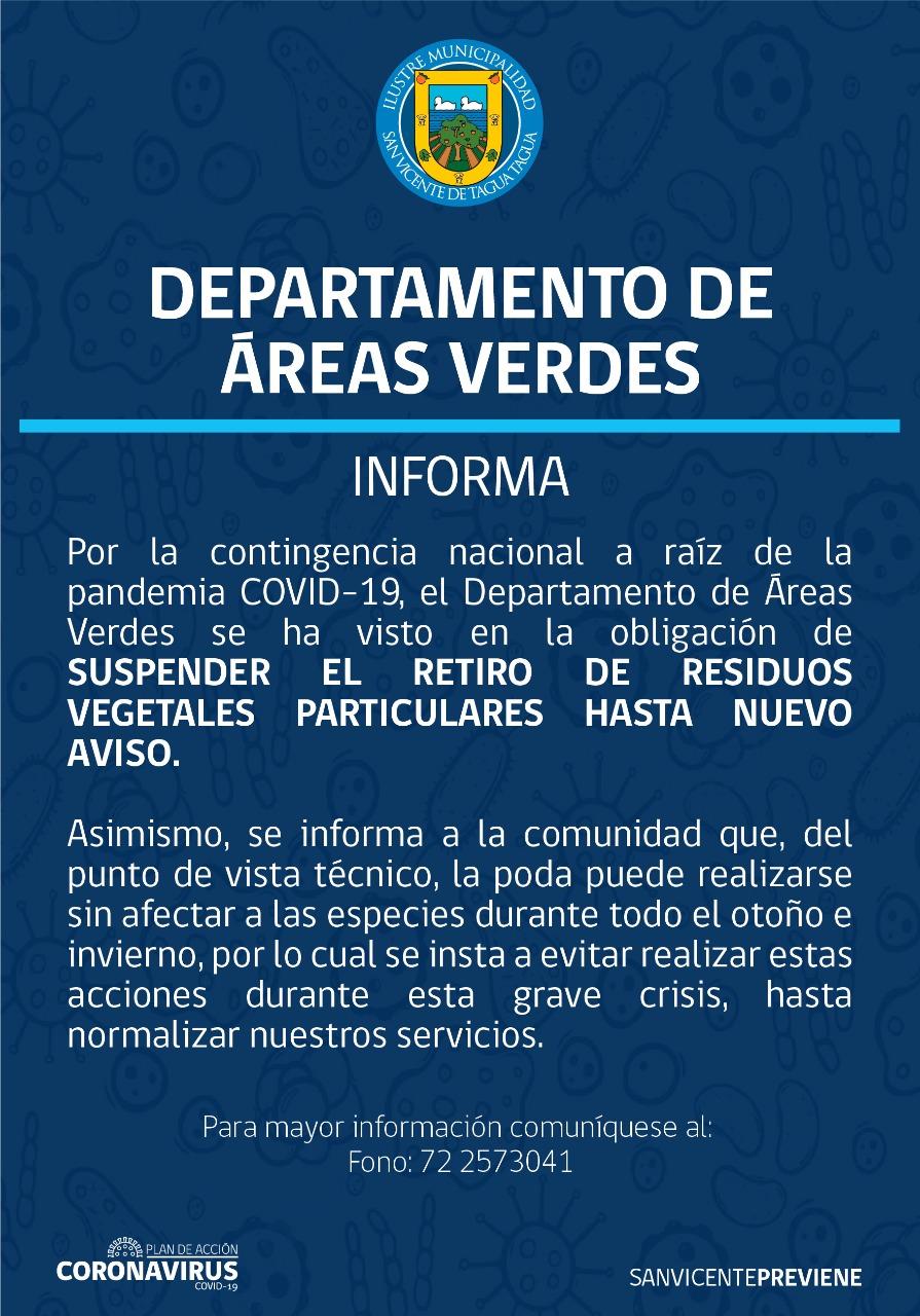 DEPARTAMENTO DE ÁREAS VERDES INFORMA