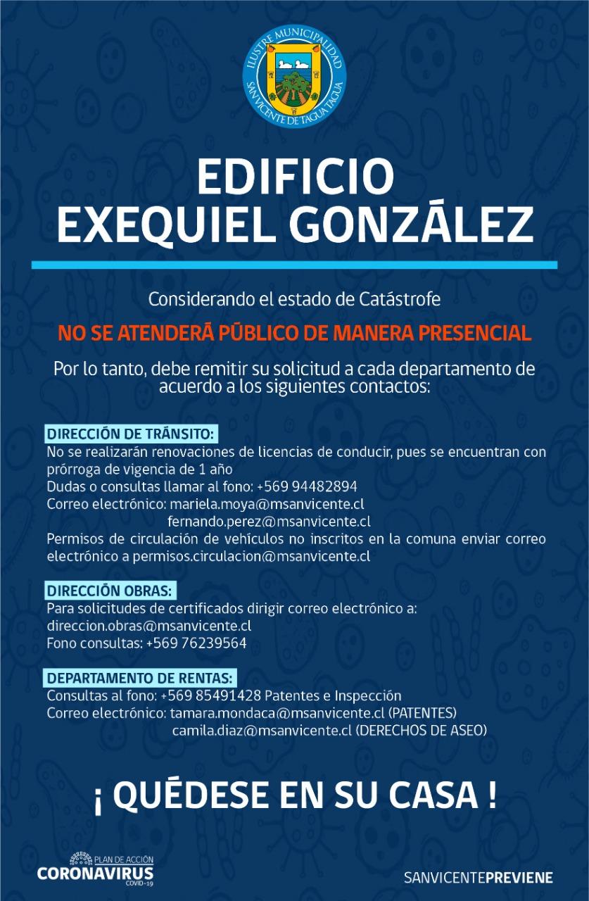 ACTUALIZACIÓN | TELÉFONOS Y CORREOS ELECTRÓNICOS DE ATENCIÓN DE PÚBLICO DEPARTAMENTOS MUNICIPALES DE EDIFICIO EXEQUIEL GONZÁLEZ