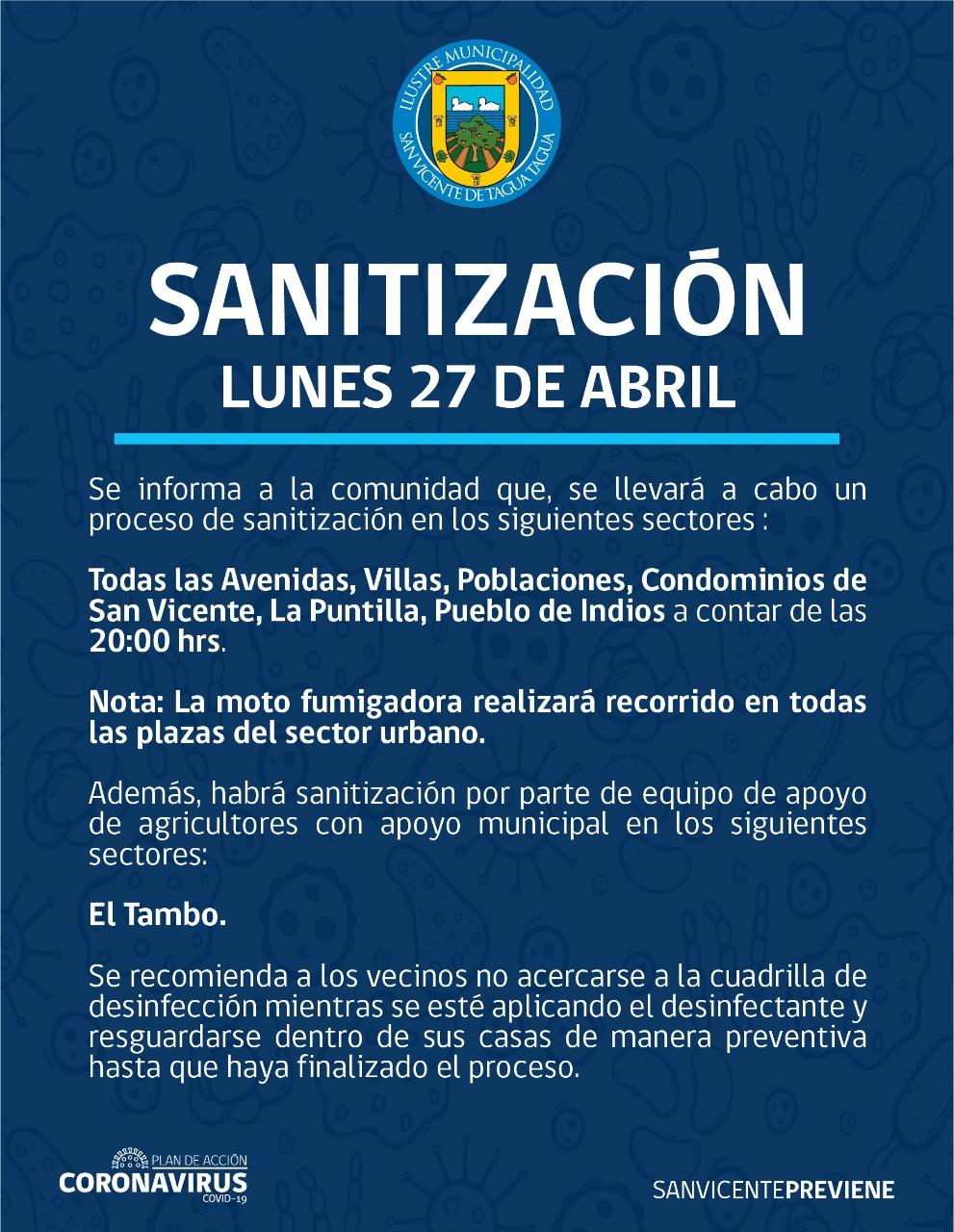 SE INFORMA SANITIZACIÓN PROGRAMADA PARA HOY LUNES 27 DE ABRIL