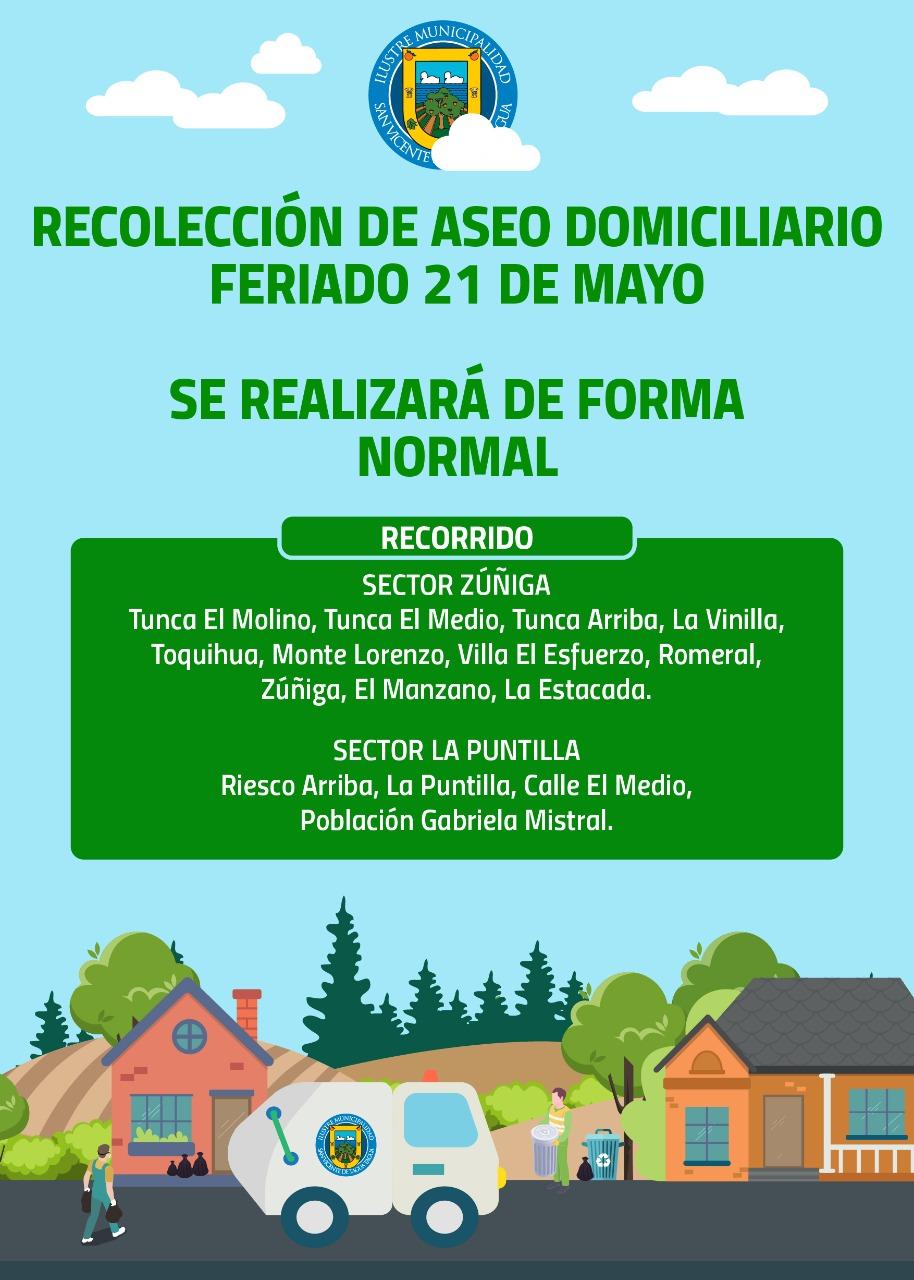 RECOLECCIÓN DE ASEO DOMICILIARIO FERIADO 21 DE MAYO | RECORRIDO NORMAL
