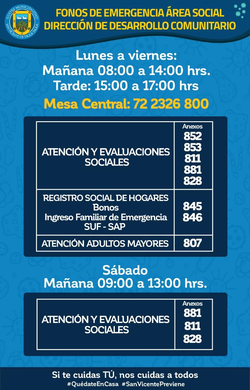 FONOS DE EMERGENCIA ÁREA SOCIAL | DIRECCIÓN DE DESARROLLO COMUNITARIO‼️📱☎️🗣