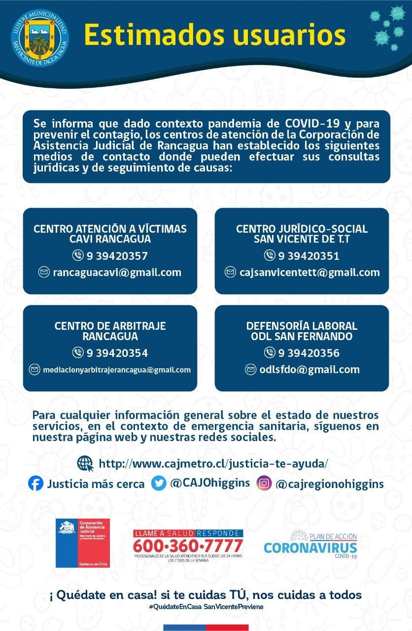 ATENCIÓN DE CENTROS DE CORPORACIÓN DE ASISTENCIA JUDICIAL‼️