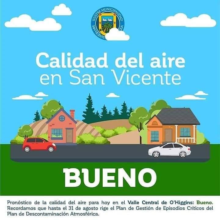 CALIDAD DEL AIRE EN SAN VICENTE DE TAGUA TAGUA DOMINGO 3 DE MAYO: BUENO