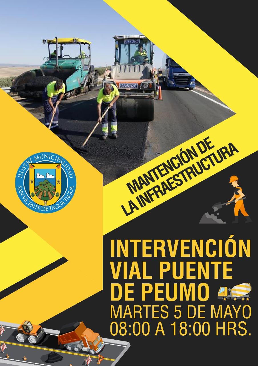 MANTENCIÓN DE LA INFRAESTRUCTURA | INTERVENCIÓN VIAL PUENTE DE PEUMO