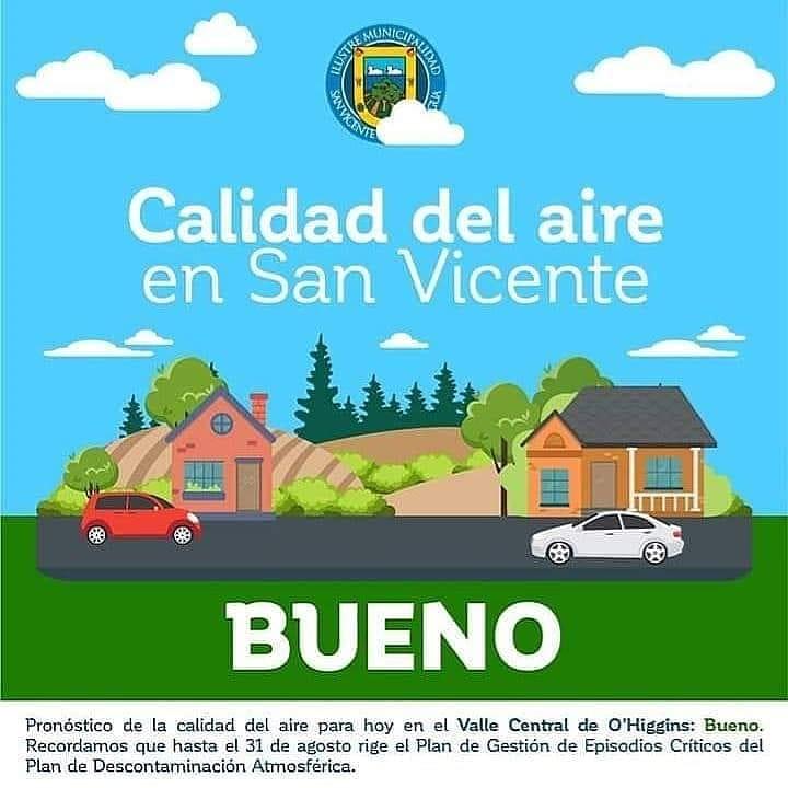 CALIDAD DEL AIRE EN SAN VICENTE DE TAGUA TAGUA LUNES 4 DE MAYO: BUENO