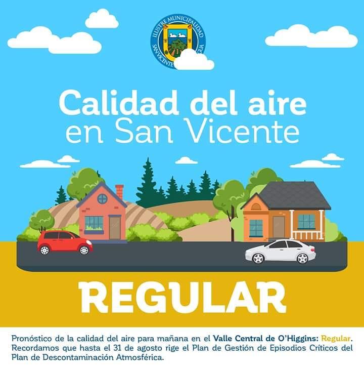 CALIDAD DEL AIRE EN SAN VICENTE DE TAGUA TAGUA LUNES 18 DE MAYO: REGULAR‼️