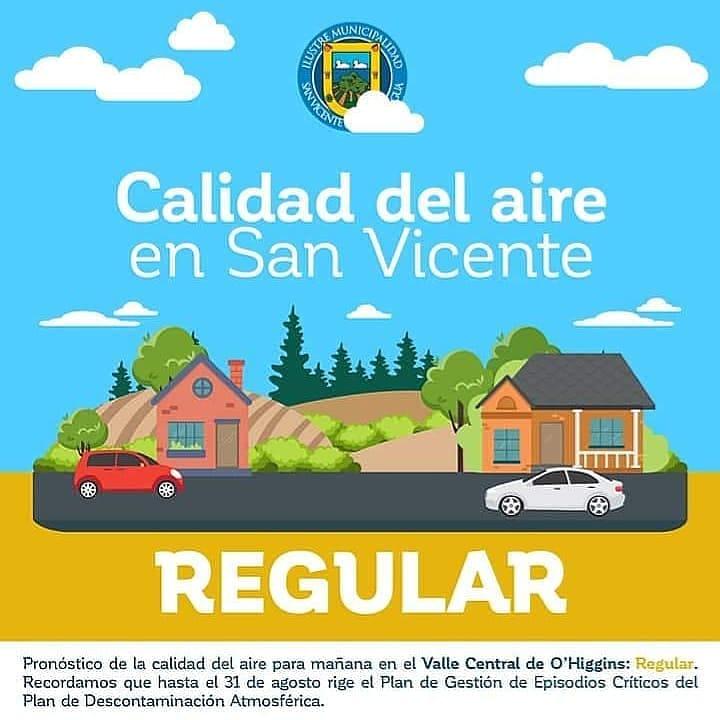 CALIDAD DEL AIRE EN SAN VICENTE DE TAGUA TAGUA LUNES 25 DE MAYO: REGULAR‼️