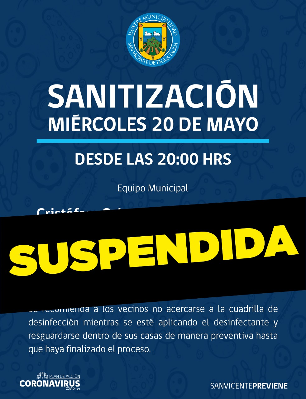 SUSPENDIDO OPERATIVO DE SANITIZACIÓN MIÉRCOLES 20 DE MAYO‼️🔴