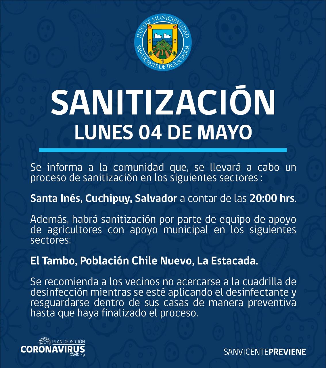 SE INFORMA SANITIZACIÓN PROGRAMADA PARA HOY LUNES 4 DE MAYO