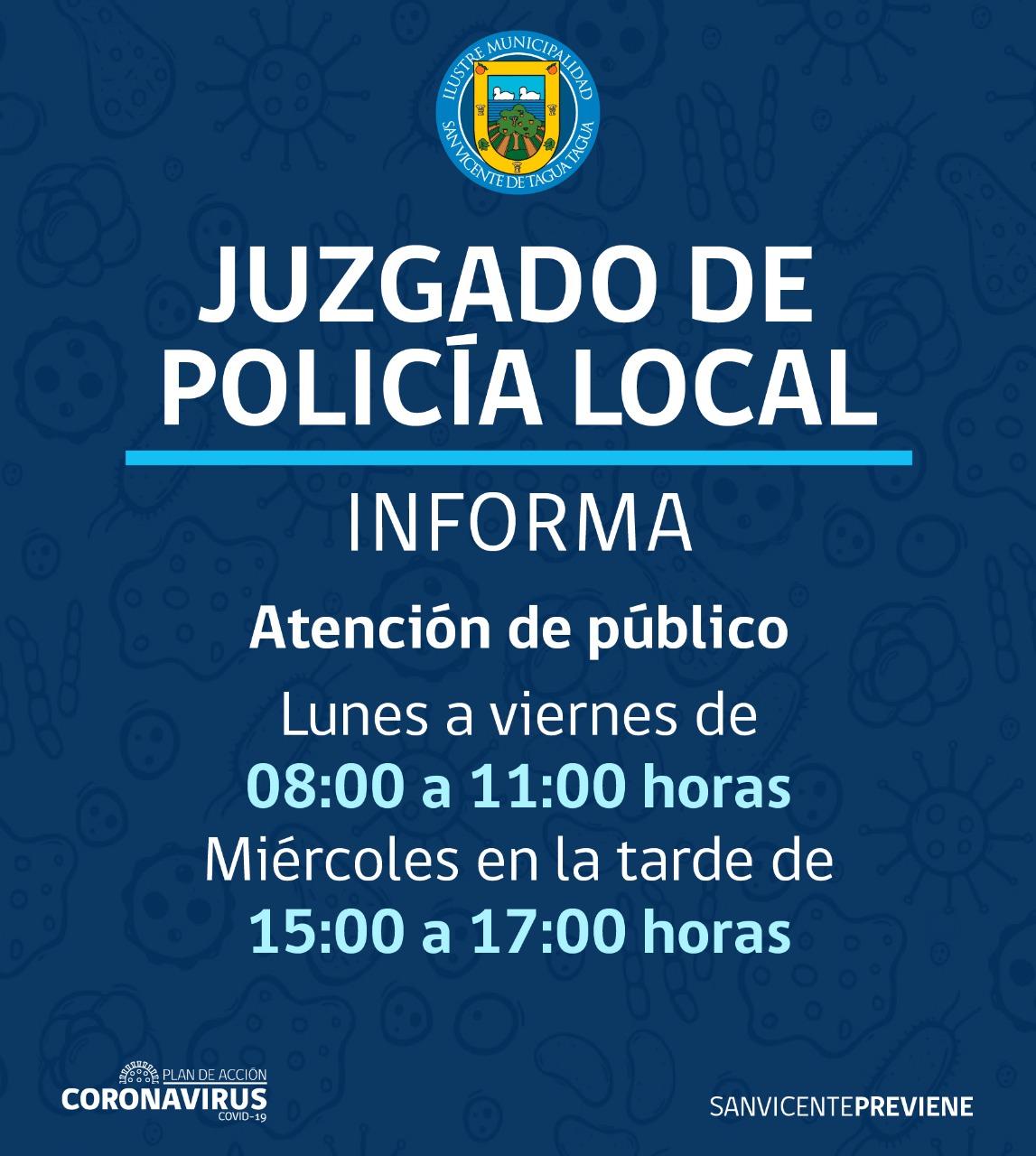 ATENCIÓN DE PÚBLICO JUZGADO DE POLICÍA LOCAL DE SAN VICENTE