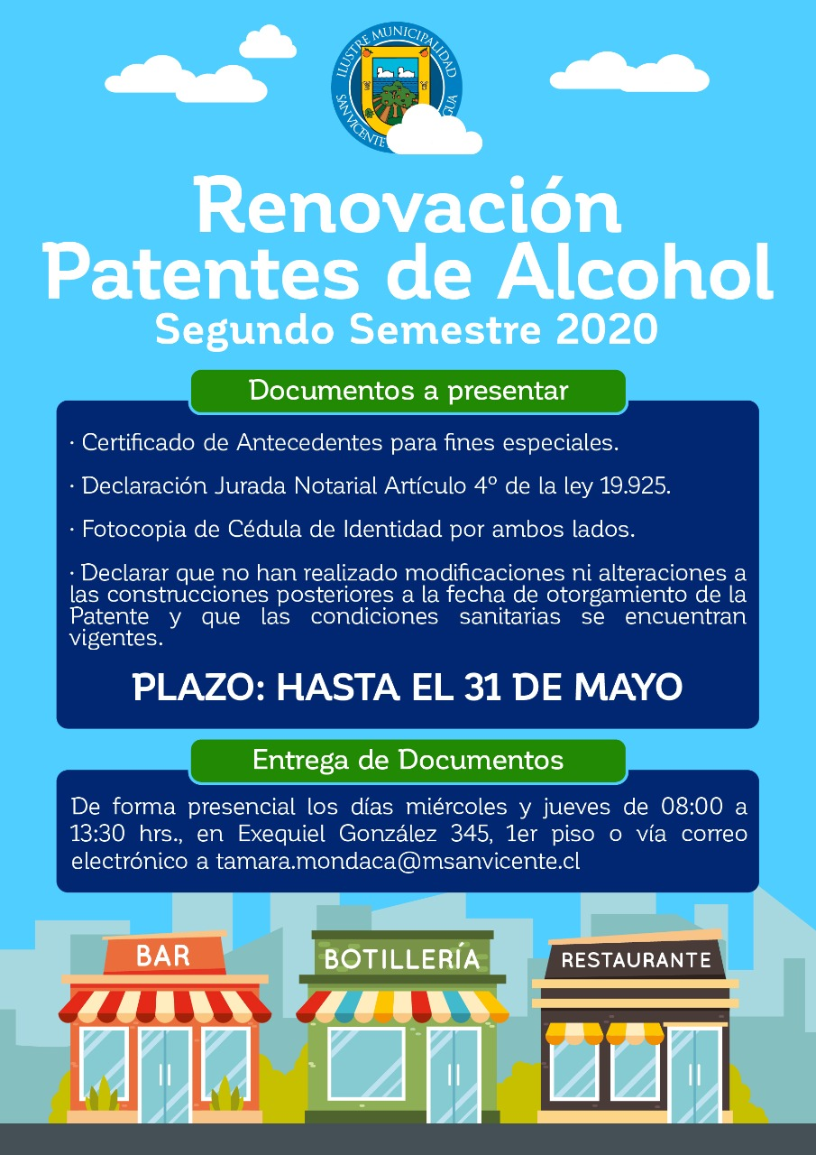 RENOVACIÓN PATENTES DE ALCOHOL SEGUNDO SEMESTRE 2020