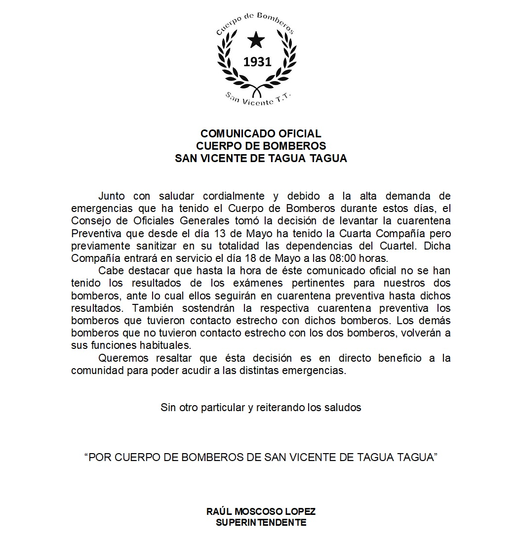 COMUNICADO OFICIAL CUERPO DE BOMBEROS SAN VICENTE DE TAGUA TAGUA